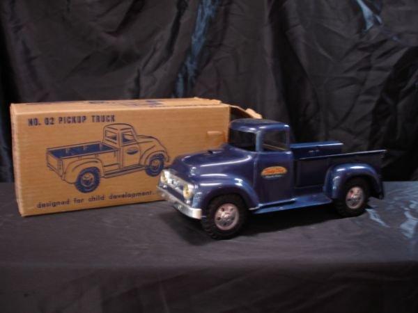 107: 1957 TONKA NO. 2 DARK BLUE PICKUP W ORIGINAL BOX