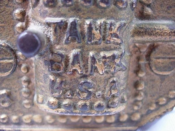 92: ANTIQUE WWI 1918 TANK BANK USA CAST IRON ORIGINAL - 3