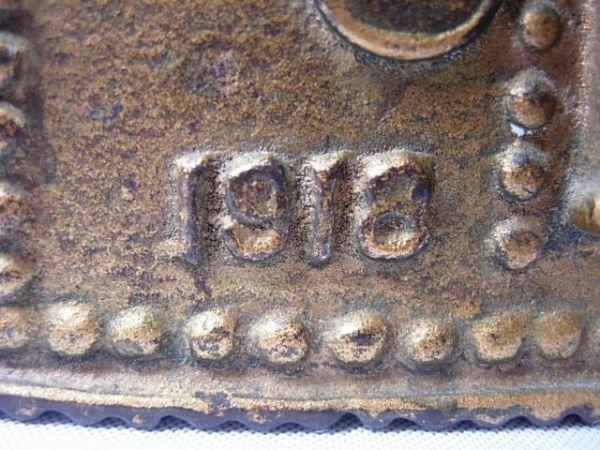 92: ANTIQUE WWI 1918 TANK BANK USA CAST IRON ORIGINAL - 4