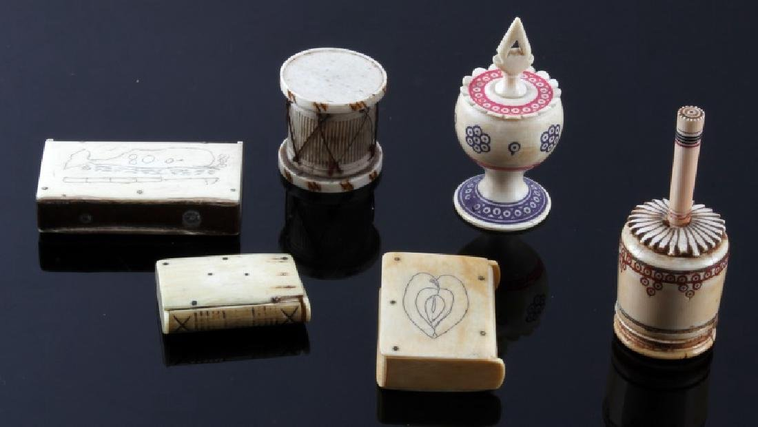 ANTIQUE 19TH CENTURY  BONE PERFUME & MATCHBOX