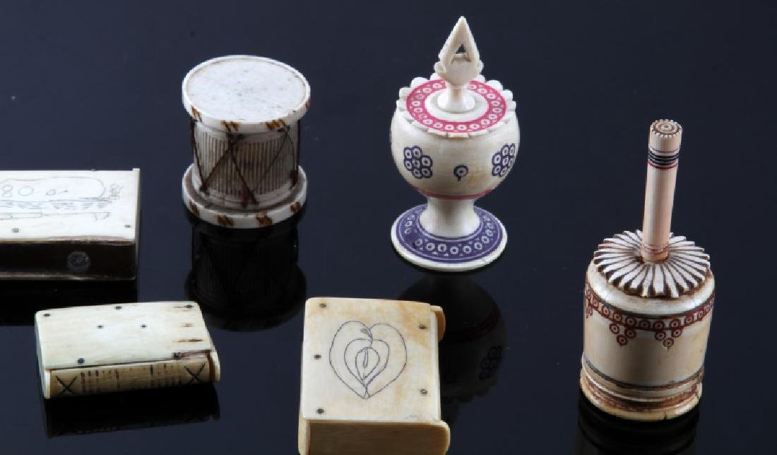 ANTIQUE 19TH CENTURY  BONE PERFUME & MATCHBOX - 2