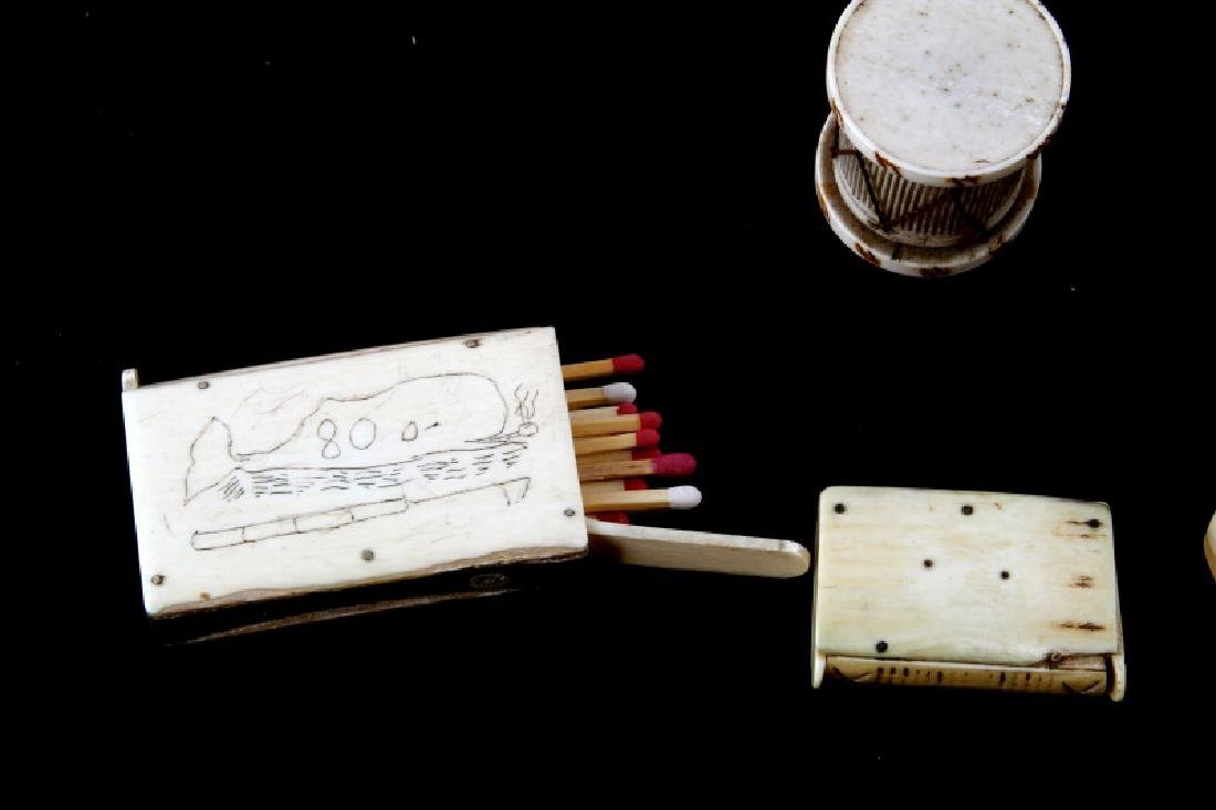 ANTIQUE 19TH CENTURY  BONE PERFUME & MATCHBOX - 3
