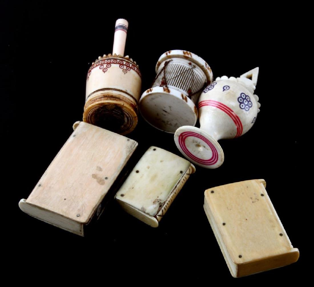 ANTIQUE 19TH CENTURY  BONE PERFUME & MATCHBOX - 4