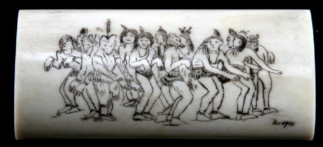 NATIVE AMERICAN BONE SCRIMSHAW ARTIST SIGNED - 2