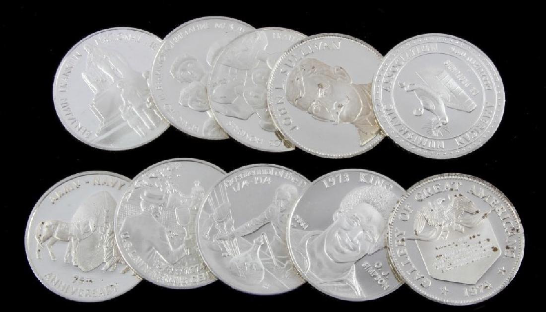 TEN STERLING SILVER PROOF ROUNDS VARIOUS THEMES