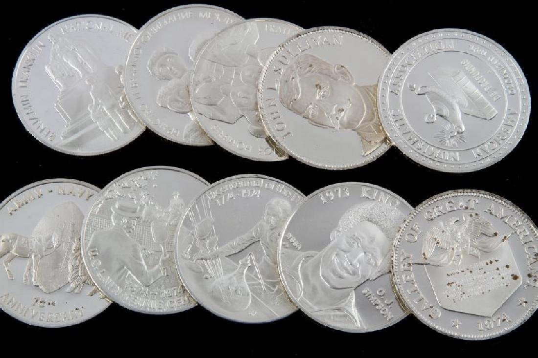 TEN STERLING SILVER PROOF ROUNDS VARIOUS THEMES - 2