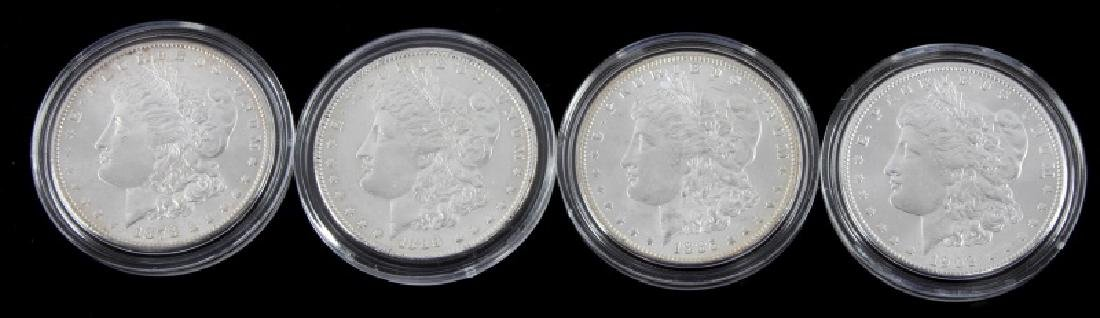 FOUR MORGAN SILVER DOLLAR MINT STATE COINS