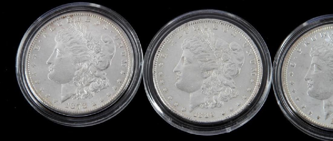 FOUR MORGAN SILVER DOLLAR MINT STATE COINS - 2