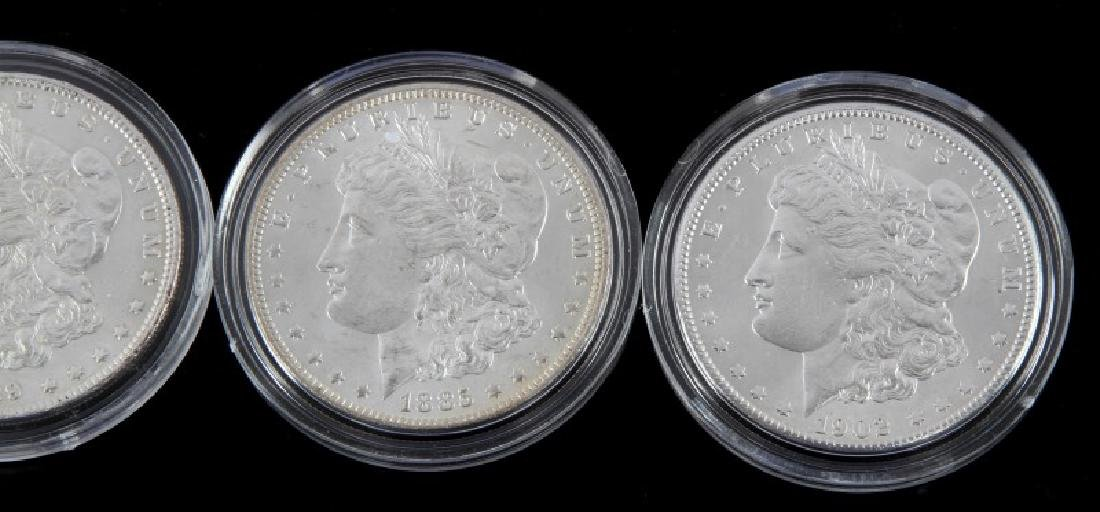 FOUR MORGAN SILVER DOLLAR MINT STATE COINS - 3