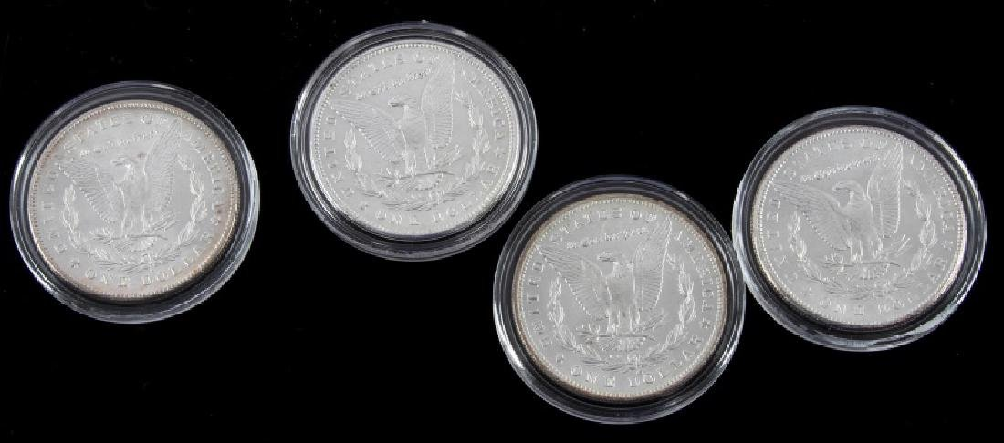FOUR MORGAN SILVER DOLLAR MINT STATE COINS - 4