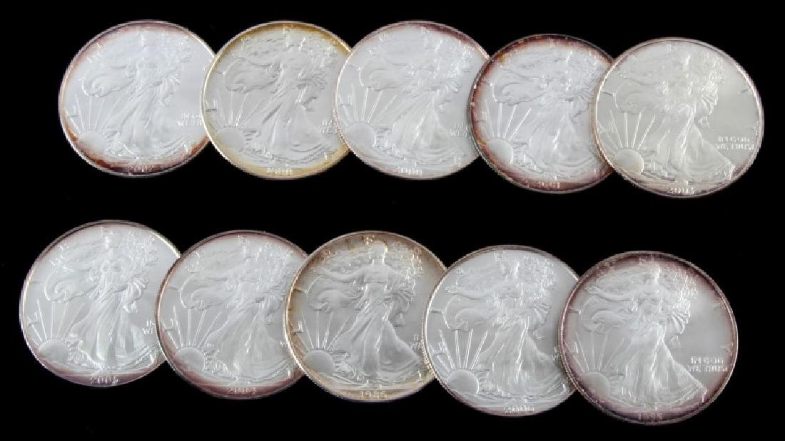 LOT OF 10 AMERICAN EAGLE FINE SILVER COINS