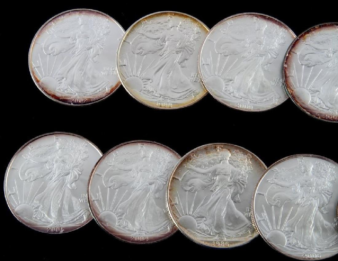 LOT OF 10 AMERICAN EAGLE FINE SILVER COINS - 2