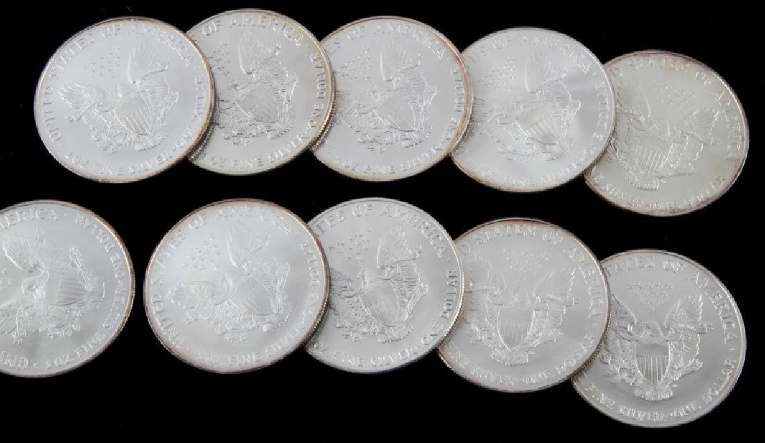 LOT OF 10 AMERICAN EAGLE FINE SILVER COINS - 4