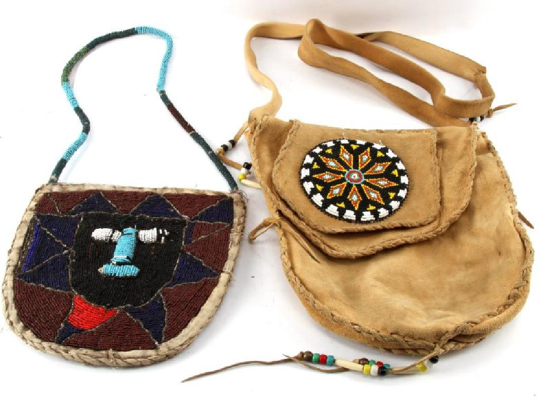 2 BEADED NATIVE AMERICAN LAKOTA MEDICINE MAN BAGS