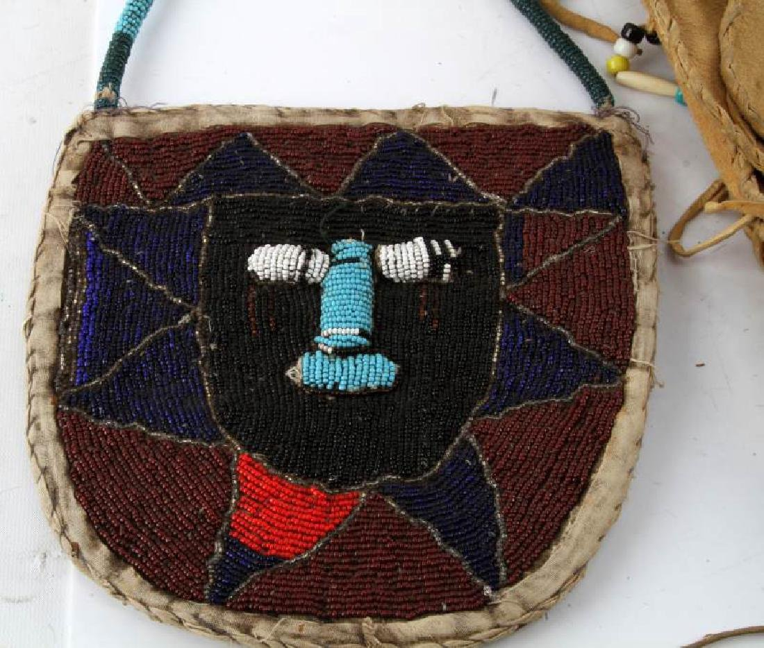 2 BEADED NATIVE AMERICAN LAKOTA MEDICINE MAN BAGS - 2