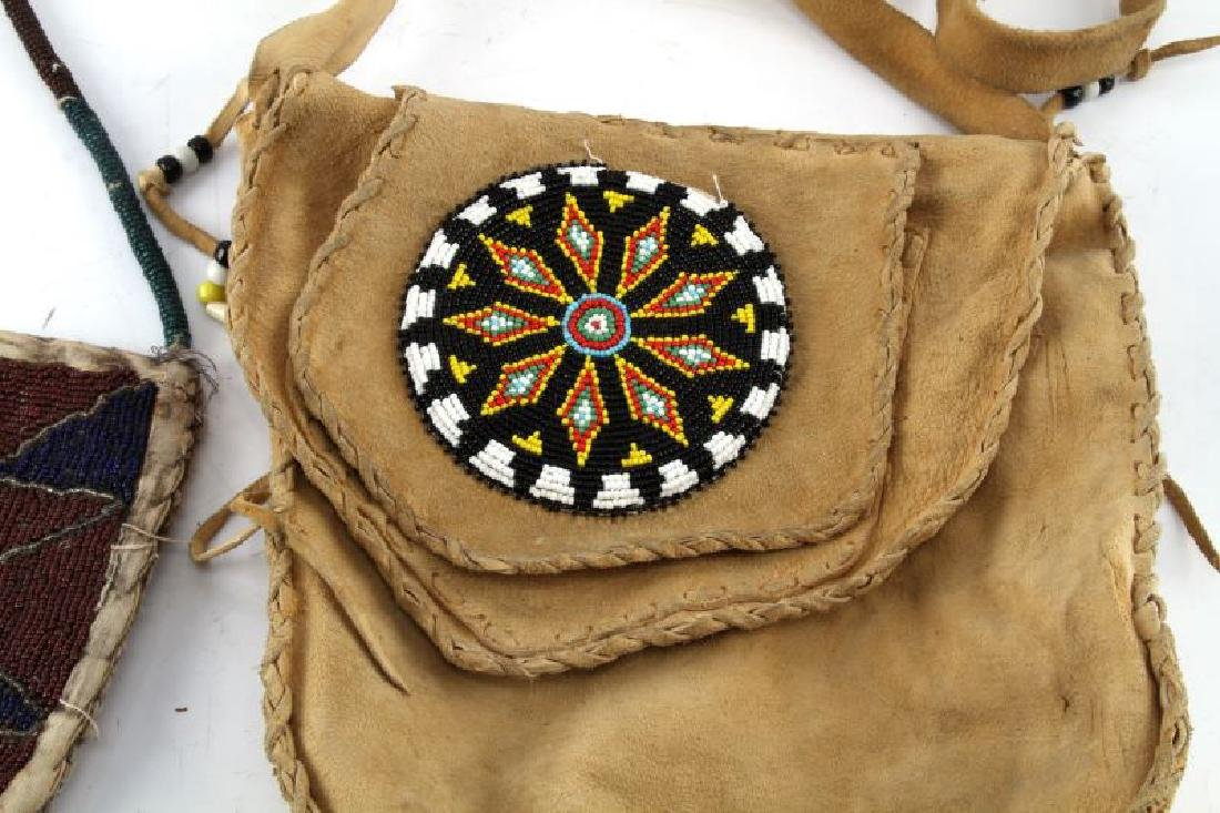 2 BEADED NATIVE AMERICAN LAKOTA MEDICINE MAN BAGS - 3