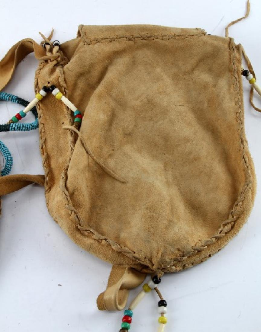 2 BEADED NATIVE AMERICAN LAKOTA MEDICINE MAN BAGS - 5