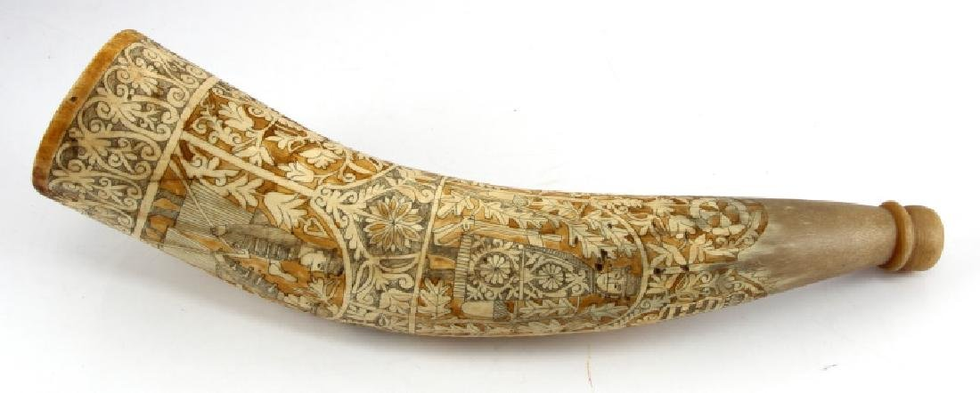 DATED 1943 SCRIMSHAW CARVED HUNTING DOG HORN
