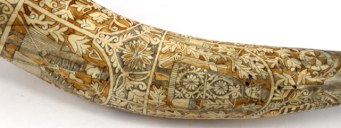 DATED 1943 SCRIMSHAW CARVED HUNTING DOG HORN - 2