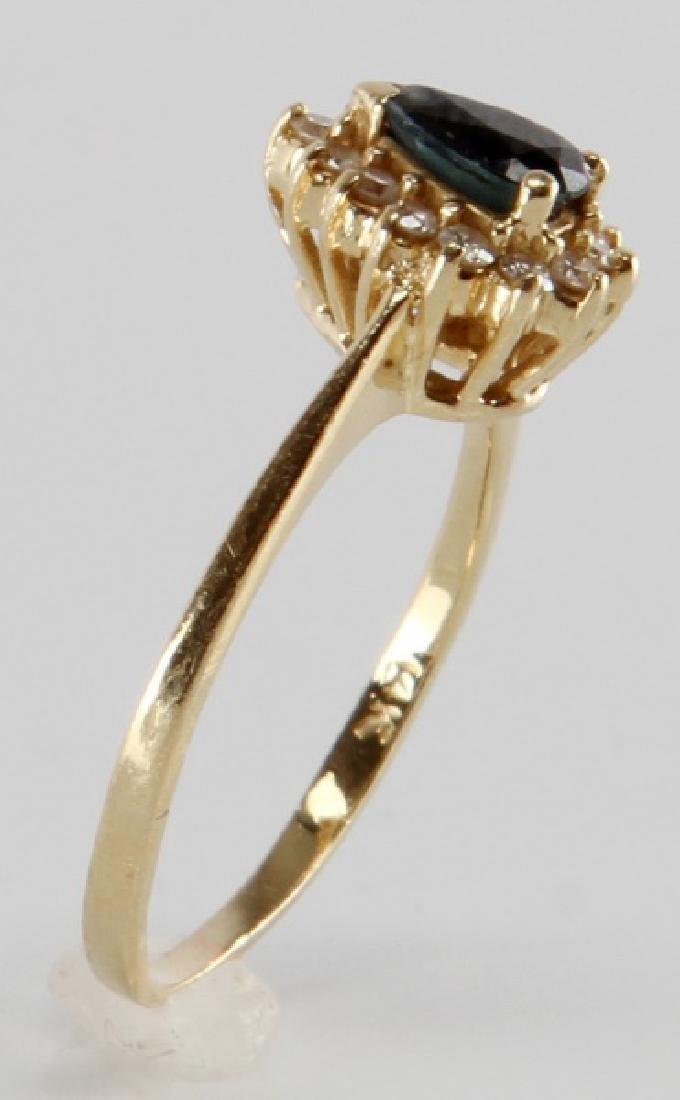 TEAR DROP SAPPHIRE & DIAMOND 14K YELLOW GOLD RING - 3