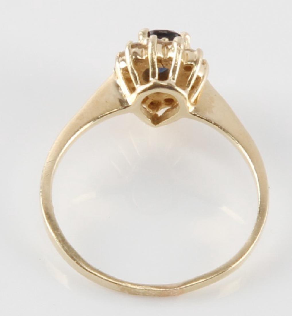 TEAR DROP SAPPHIRE & DIAMOND 14K YELLOW GOLD RING - 4