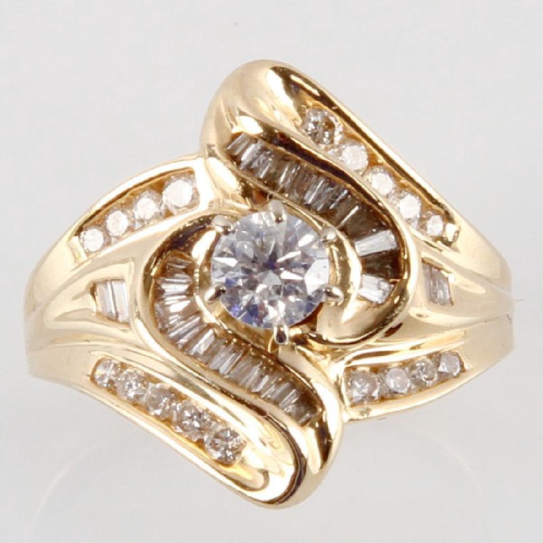 ADIES 14K YELLOW GOLD AND DIAMOND RING - 2