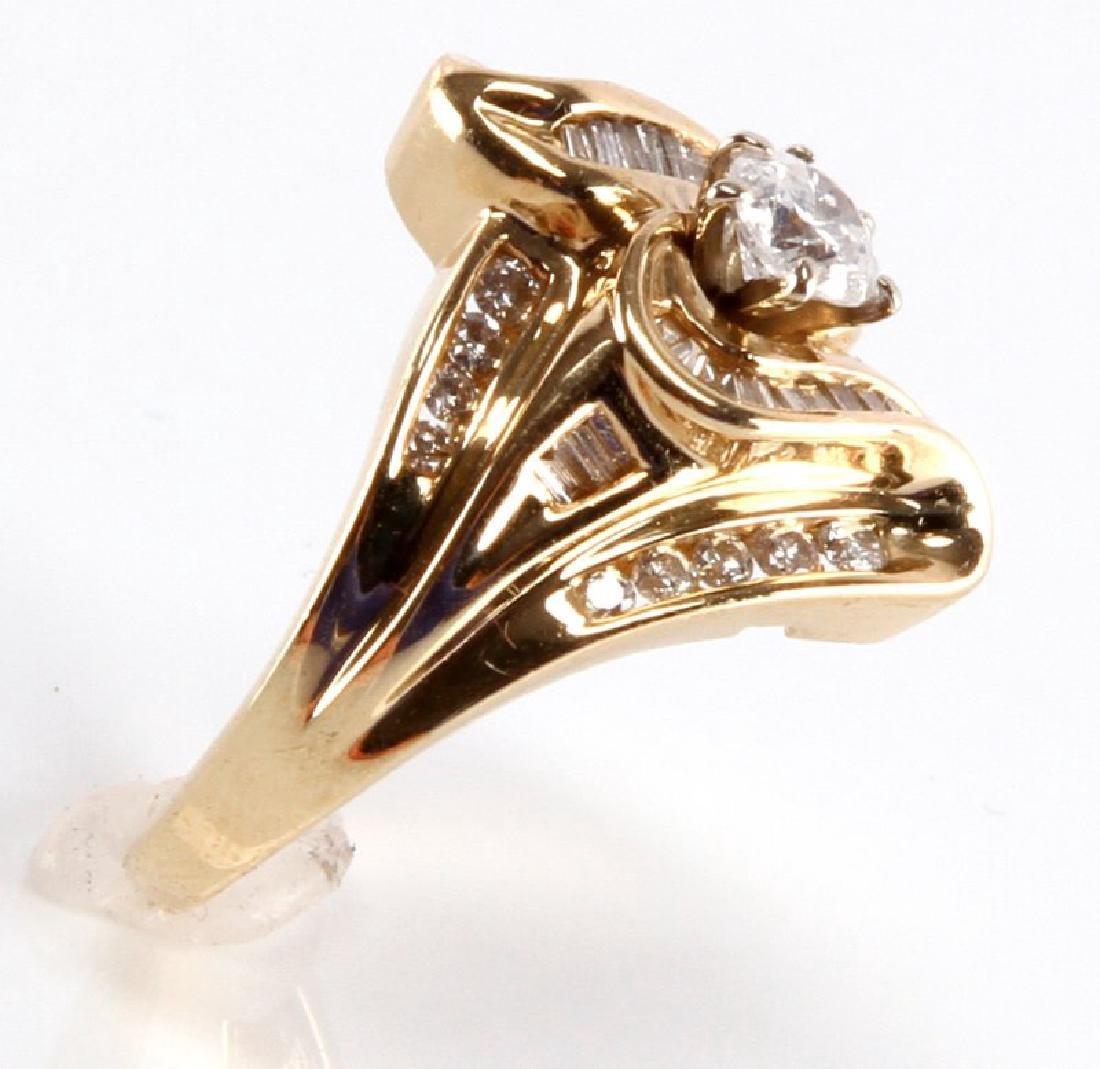 ADIES 14K YELLOW GOLD AND DIAMOND RING - 4
