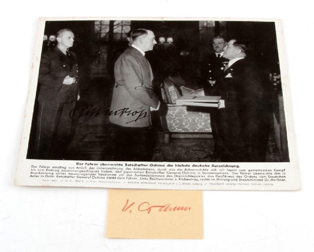 WWII 1941 HITLER & VON RIBBENTROP SIGNED PHOTO