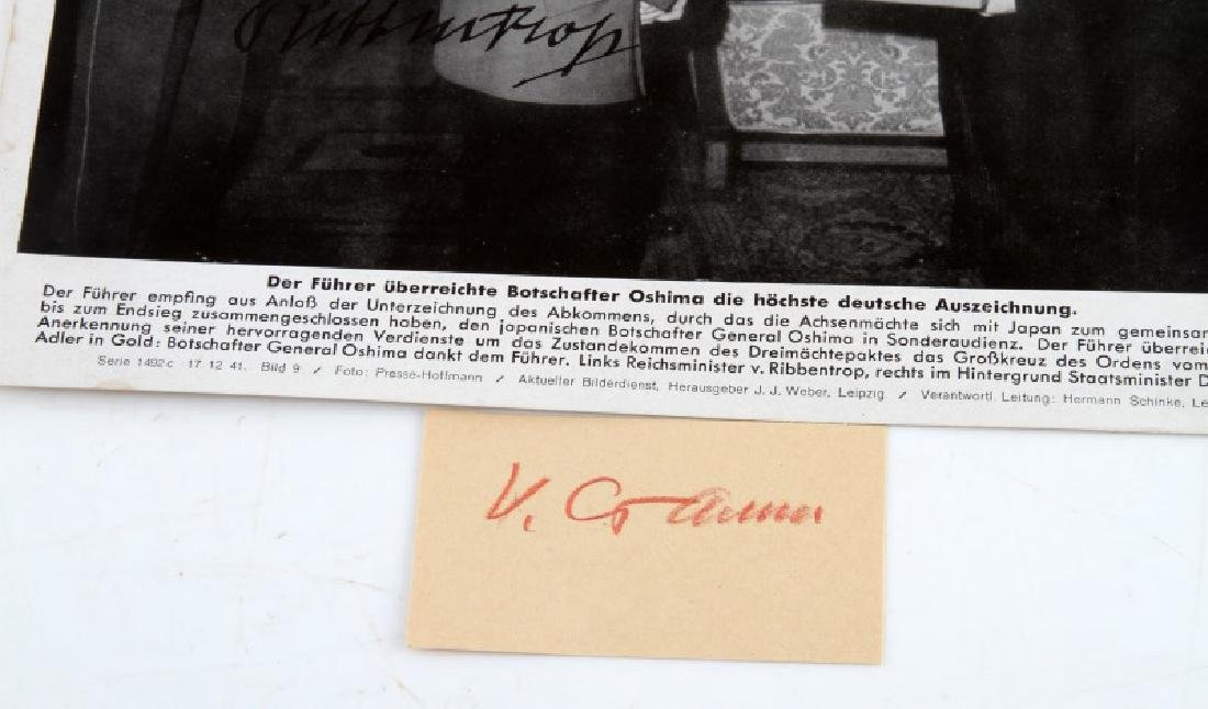 WWII 1941 HITLER & VON RIBBENTROP SIGNED PHOTO - 3