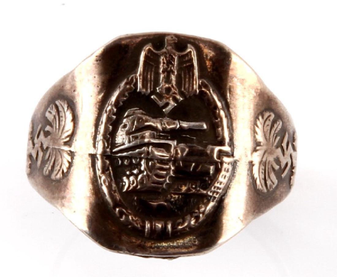 WWII GERMAN AFRIKAKORPS TANK DESTROYER SILVER RING - 2