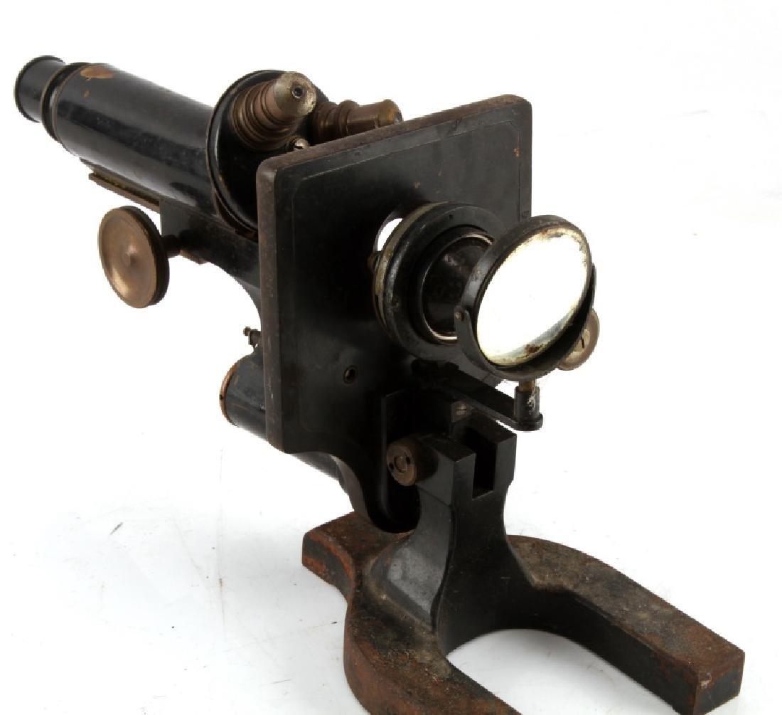 SPENCER 1906 BRASS AND IRON MONOCULAR MICROSCOPE - 3