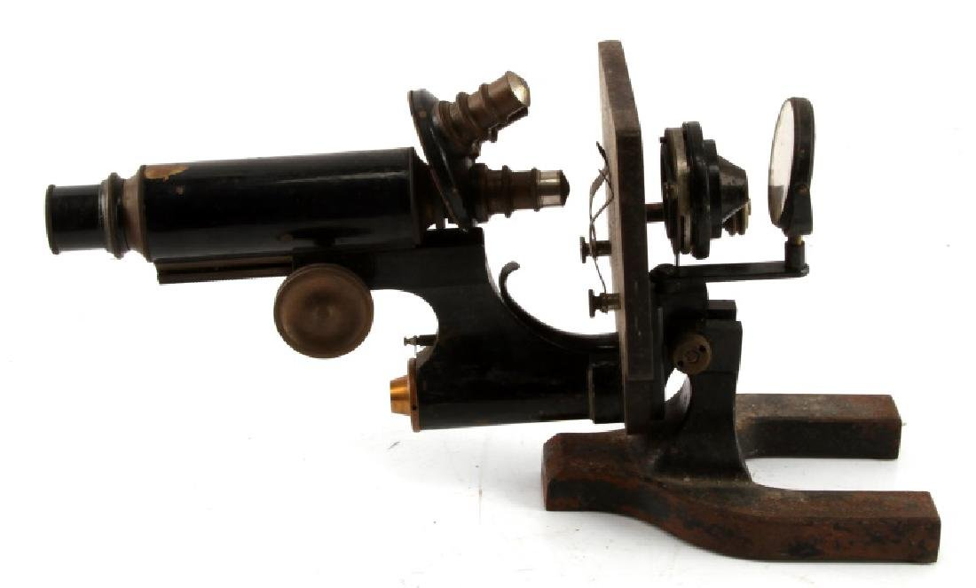 SPENCER 1906 BRASS AND IRON MONOCULAR MICROSCOPE - 4