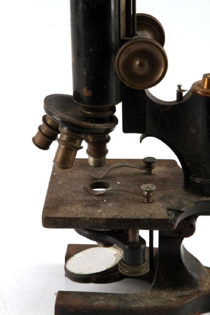 SPENCER 1906 BRASS AND IRON MONOCULAR MICROSCOPE - 6