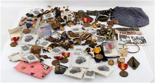 LARGE MIXED LOT OF MILITARY PINS MEDALS BADGES