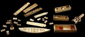 ANTIQUE BONE SCRIMSHAW & CARVING LOT