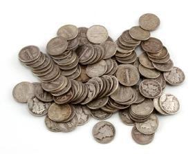115 OR $11.50 FACE 90% SILVER MERCURY DIMES UNSEAR