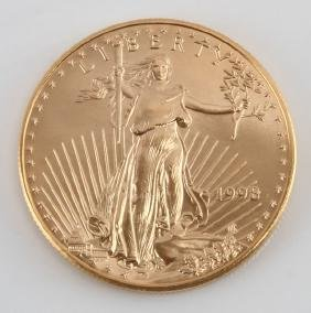 1998 GOLD AMERICAN EAGLE $50 1 OZT COIN FLAWLESS