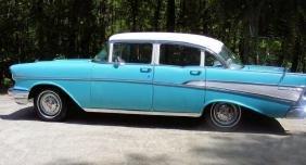 1957 4 DOOR TURQUOISE BLUE CHEVROLET BEL AIR
