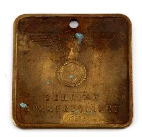 GERMAN WWII BRASS GESTAPO GENERAL INSPECTION TAG