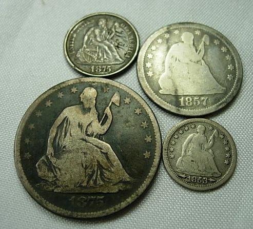 90025: US COIN SEATED HALF DIME QUARTER HALF DOLLAR LOT
