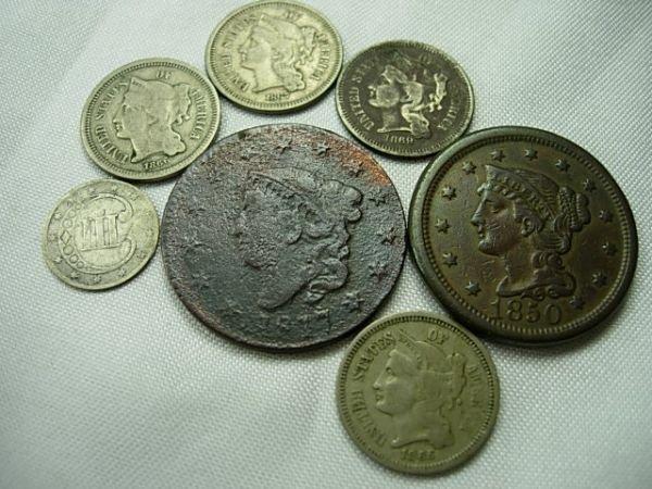 90026: US LARGE CENT 3 CENT PIECE COIN LOT