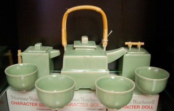ASIAN  ART POTTERY CERAMIC BAMBOO TEA SERVICE