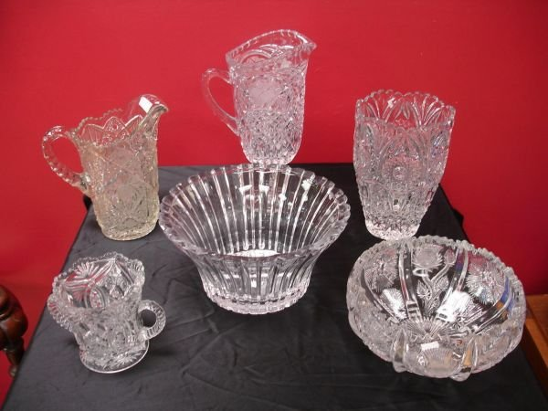 22: EARLY PRESSCUT CRYSTAL GLASS LOT OF 6 BOWL PITCHER