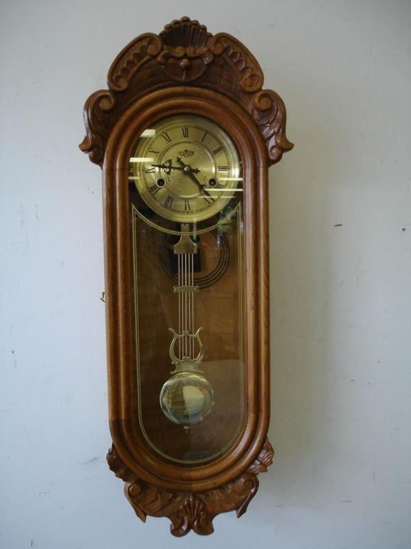 90021: WORKING D&A PENDULUM WALL CLOCK CARVED OAK