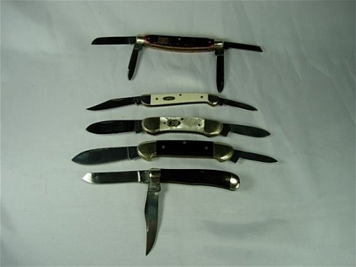 90204: 5 BROWNING KLAAS BUCK CASE POCKET KNIFE LOT