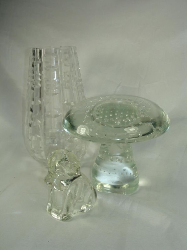 """15: WATERFORD 7"""" CUT CRYSTAL VASE ART GLASS LOT OF 3"""