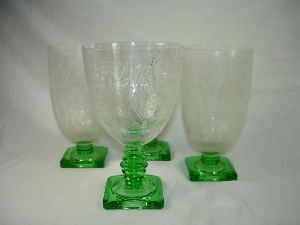 90016: FOSTORIA OR CAMBRIDGE ETCHED STEM GLASS LOT OF 4