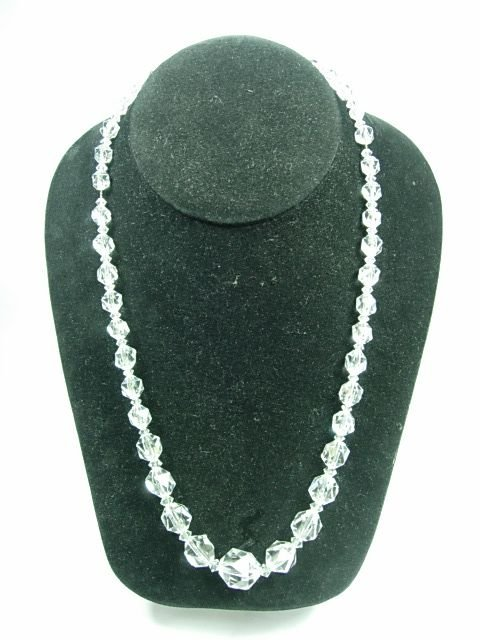 90018: VINTAGE CRYSTAL GLASS FACED NECKLACE ABP MESH CH
