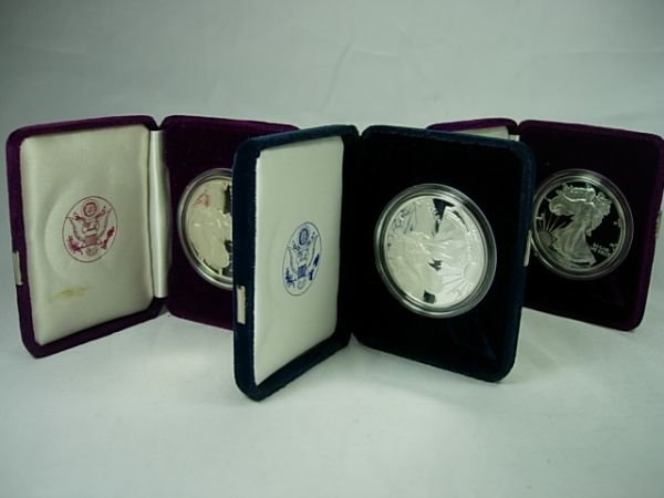 90277: SILVER AMERICAN EAGLE PROOF LOT OF 3 1986, 89 20