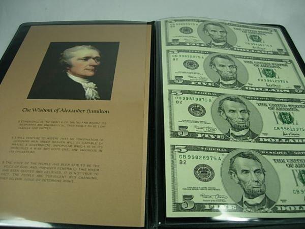 90279: UNCUT CURRENCY SHEET $5.00 ALEXANDER HAMILTON